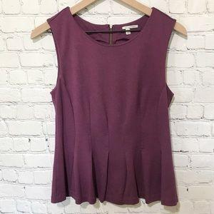 Halogen Peplum zip back sleeveless top stretchy!